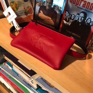 CALVIN KLEIN-woman's red belt zipper purse NWT